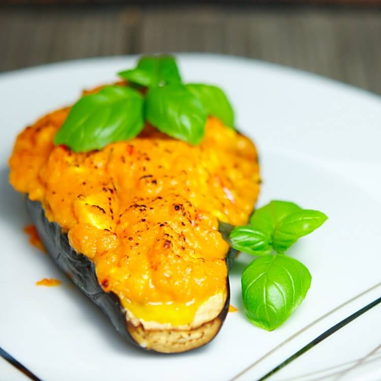 Aubergine filled with sweetpotato puree